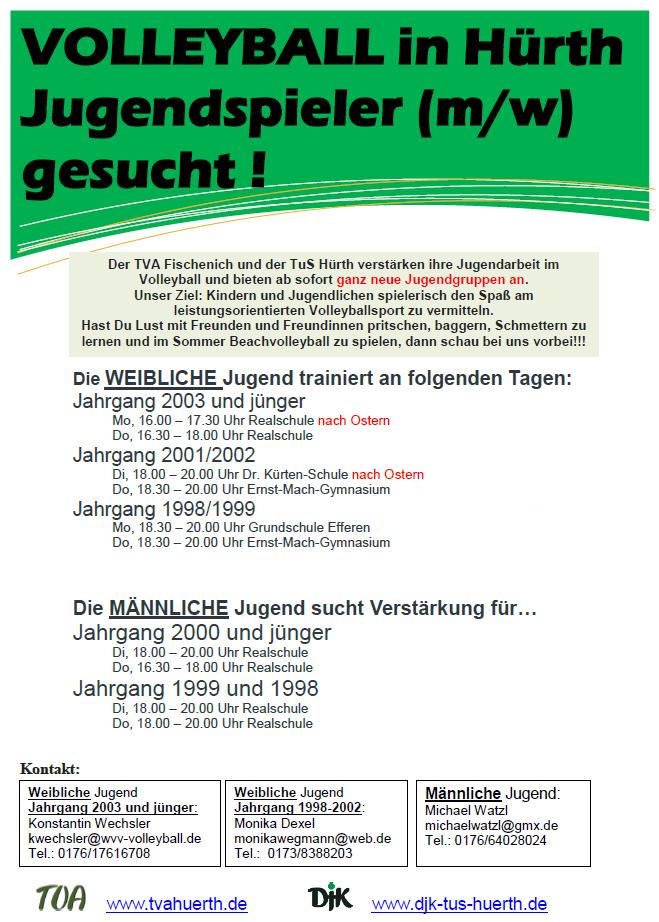 TVA Fischenich + TuS Hürth – Jugendarbeit im Volleyball – neue Trainingszeiten
