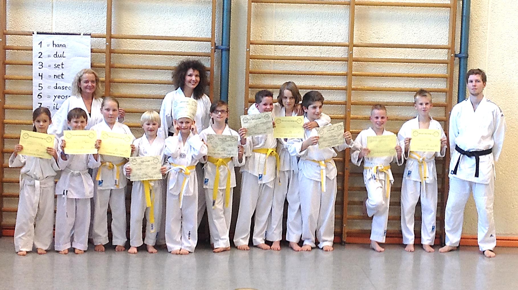 Das Bild zeigt unsere Taekwondo-Gruppe um Andrea und Leonie bei der Prüfung